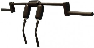 A picture of a safety squat bar with handle extensions.