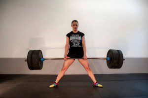 A picture of Laura Monroe deadlifting at Ironworks Gym in Binghamton, New York.