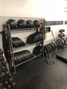 A rack with 2 tiers of bumper plates of various weights and a top shelf for Rogue Medicine Balls.