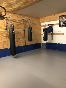 A 20x20 room with various heavy bags and a grey wrestling mat.