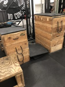 A pair of adjustable wooden jerk/stone loading boxes