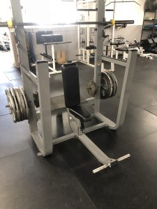 A dedicated seated Overhead Press bench with plate storage